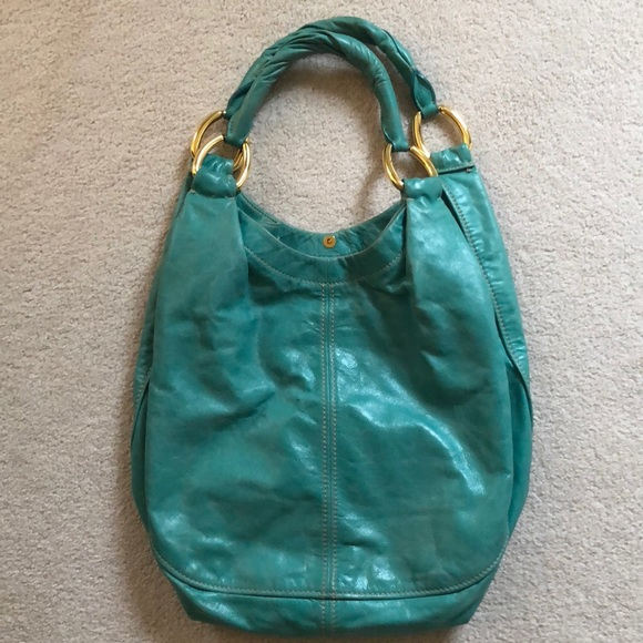 e8e2dfdc8941 Miu Miu Distressed Leather Teal Hobo Bag